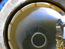 Konische Strömungsleitbleche aus verbrennungsgasbeständigem CrNiTi-Spezialstahl.