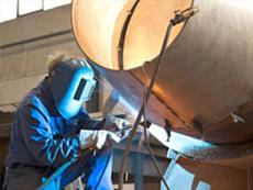 Braunkohle-Staub-Brenner mit Panzerschweißung aus Chrom-Mangan einer Asphalt-Anlage.