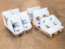 Maschinenkonsole mit Wellenaufnahme, für den Motorantrieb von Förderschnecken.